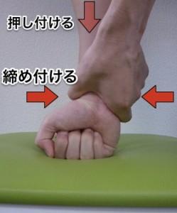 手首を上と横から圧迫